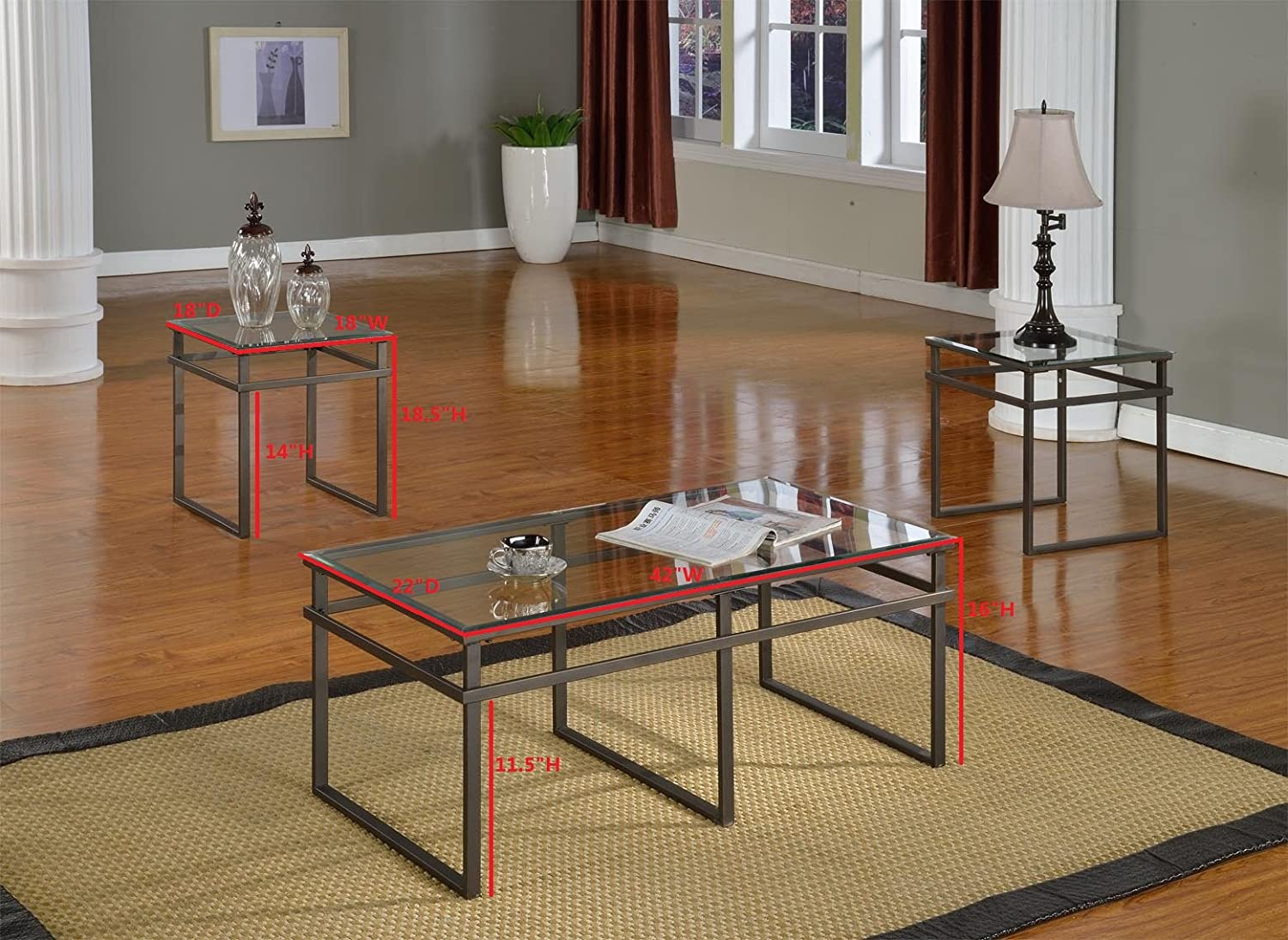 Amazon.com: 3 Pc Glass And Pewter Finish Metal Frame Coffee Table U0026 2 End  Tables Occasional Table Set: Kitchen U0026 Dining