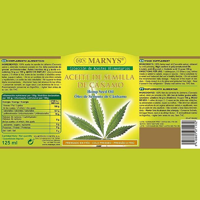 MARNYS Aceite Alimentario de Semilla de Cáñamo 125ml