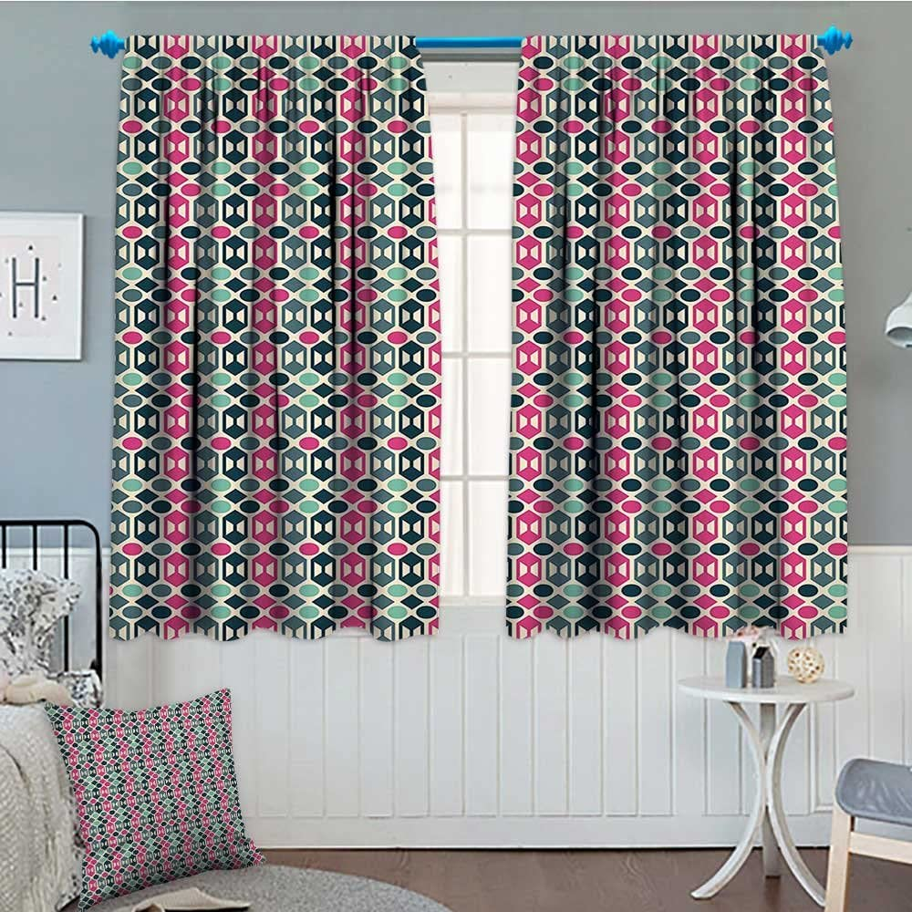 Amazon Com Septsonne Novelty Home Decoration Thermal Insulated Retro 60s Home Decor Inspired Geometrical Shapes And Dots Blackout Draperies For Bedroom 72 X63 Fern Green Hot Pink And Light Pink Home Kitchen