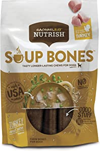 Rachael Ray Nutrish Soup Bones Dog Treats, Real Turkey & Rice Flavor, 3 Count (Pack of 8)