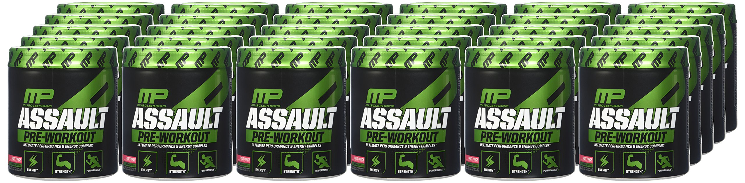 MusclePharm Assault Pre Workout Powder, Pre Workout Creatine for Energy, Focus, Strength, and Endurance with Creatine, Taurine, and Caffeine, Fruit Punch, 30 Servings