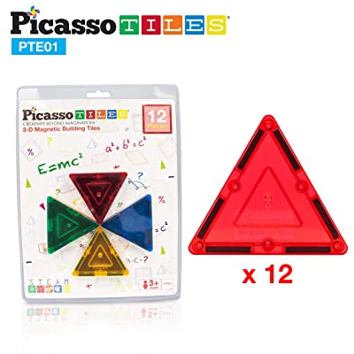 PicassoTiles 12pc Magnetic Building Block Set Equilateral Triangle Magnet Tiles Construction Toy STEM Learning Kit Educational Playboards Pretend Play Stacking Blocks Child Brain Development PTE01: Toys & Games