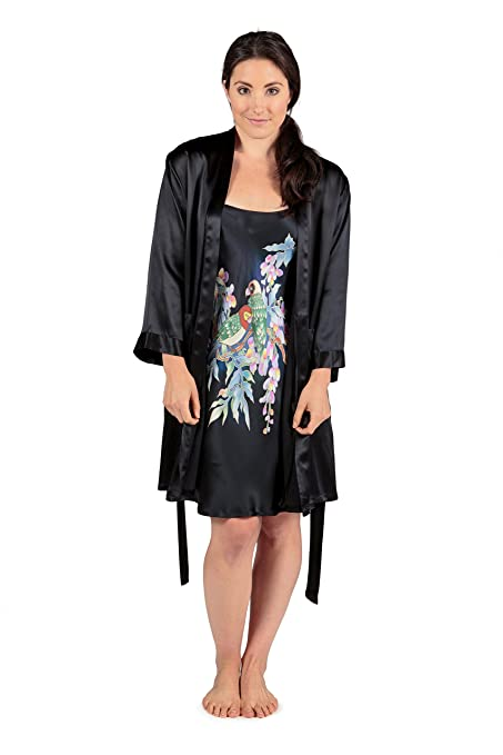 Women s Silk Nightgown   Robe Set (Parakeets in Wisteria) Luxury Gifts ... 3df78932d