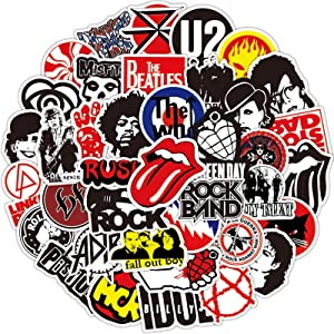 Rock Band Stickers 100pcs - Music Stickers for Adults,Guitar Stickers for Hydroflasks, Rock Roll Punk Vintage Stickers for Laptop Skateboard Water Bottle Guitar Luggage Kids Gift