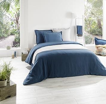 C Design Home Textile Housse de couette LIN BLEU CANARD (140 ...