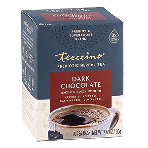Teeccino Prebiotic SuperBoost™ Herbal Tea – Dark Chocolate – Support Your Probiotics with Vegan GOS & Organic XOS For Good Gut Health and Regularity, Digestive Chocolate Tea, 10 Tea Bags