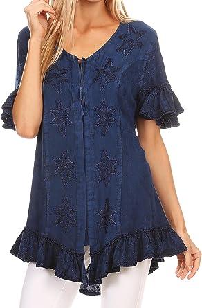 Sakkas Sayle Largo Estrella Bordada Camisa de la Blusa Superior con el botón Frontal y Volantes