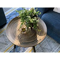 Nubian Interior Stylish Boho Round Side Table Gold - Small Coffee Table, Home Decor Furniture, Wooden End Table for Living Room, Bedroom, Office, Balcony, Easy Assembly
