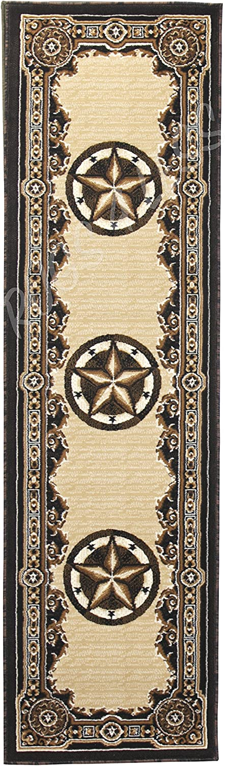 Rugs 4 Less Collection Texas Lone Star State Novelty Runner Area Rug R4L 723 Black (2'X7')