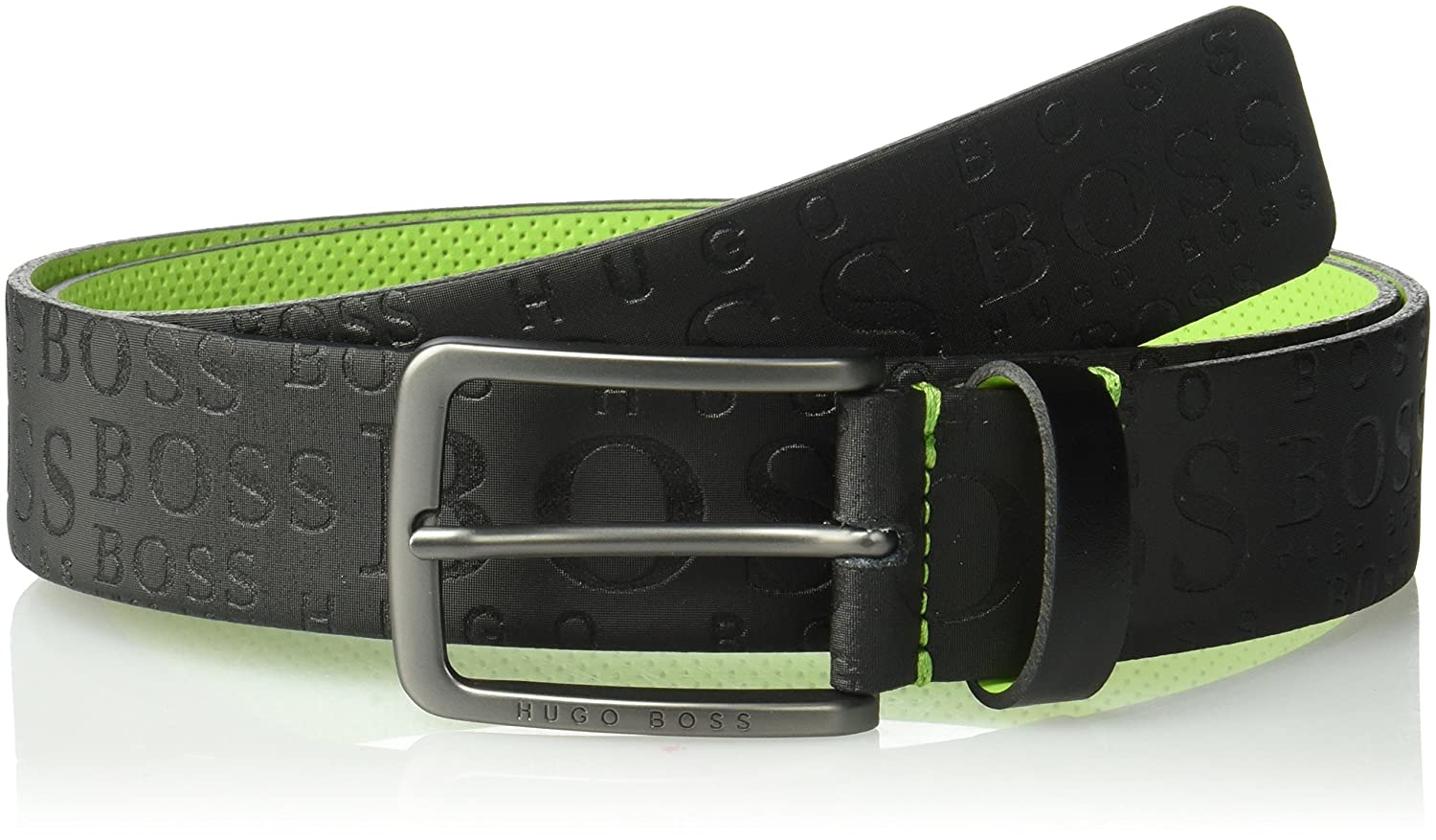 Toga Logo Embossed Leather Belt