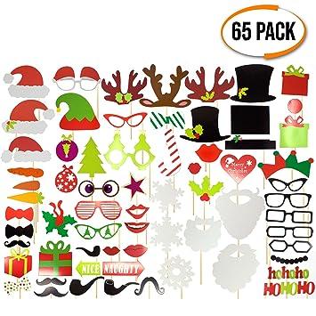 Paquete de 65 - Accesorios Festivos de Navidad para Photocall, Photo Booth Fotocall - Selección de Lentes, Sombreros, eslogans y Señales - Ideales ...