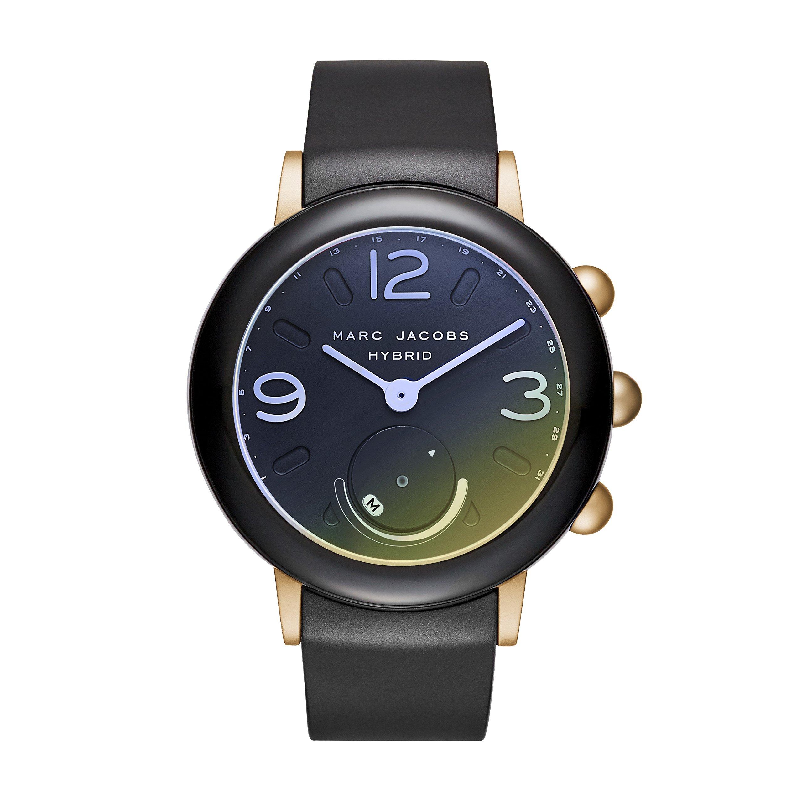 Marc Jacobs Women's Riley Aluminum and Rubber Hybrid Smartwatch, Color: Gold-Tone, Black (Model: MJT1001)