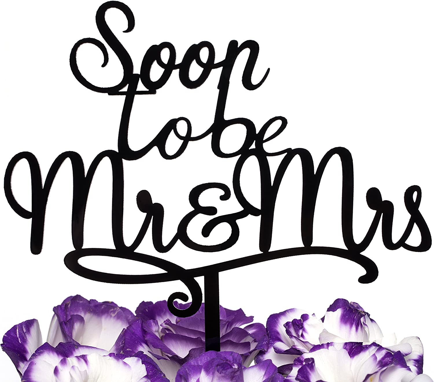 LOVENJOY Gift Boxed Soon To Be Mr and Mrs Cake Topper Engagement Black, Frosted Acrylic