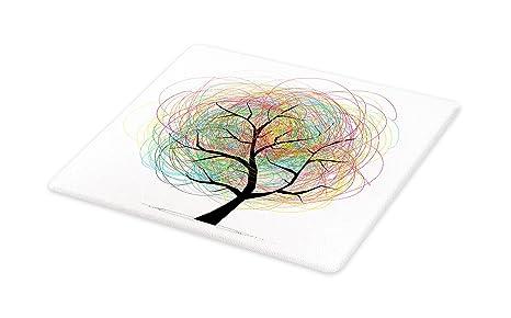 c9bd6e9e21d3e Amazon.com: Lunarable Tree of Life Cutting Board, Colorful Swirl ...