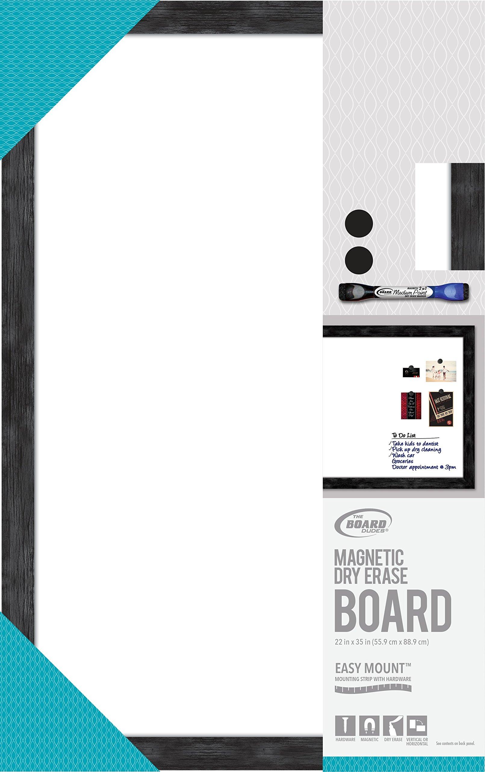 Board Dudes Magnetic Dry Erase Black Frame 35 x 22