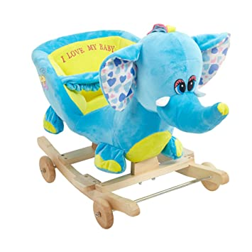 KARMAS PRODUCT Plush Rocking Horse Blue Elephant Cute Style,Solid Wood Rocking  Chair, Super