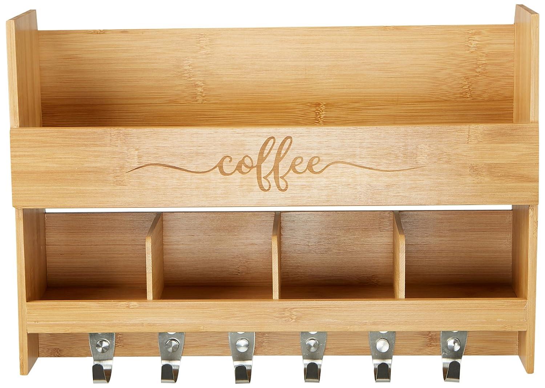Amazon.com: Mind Reader Wall Mount Coffee Mug Rack, Kitchen Storage ...