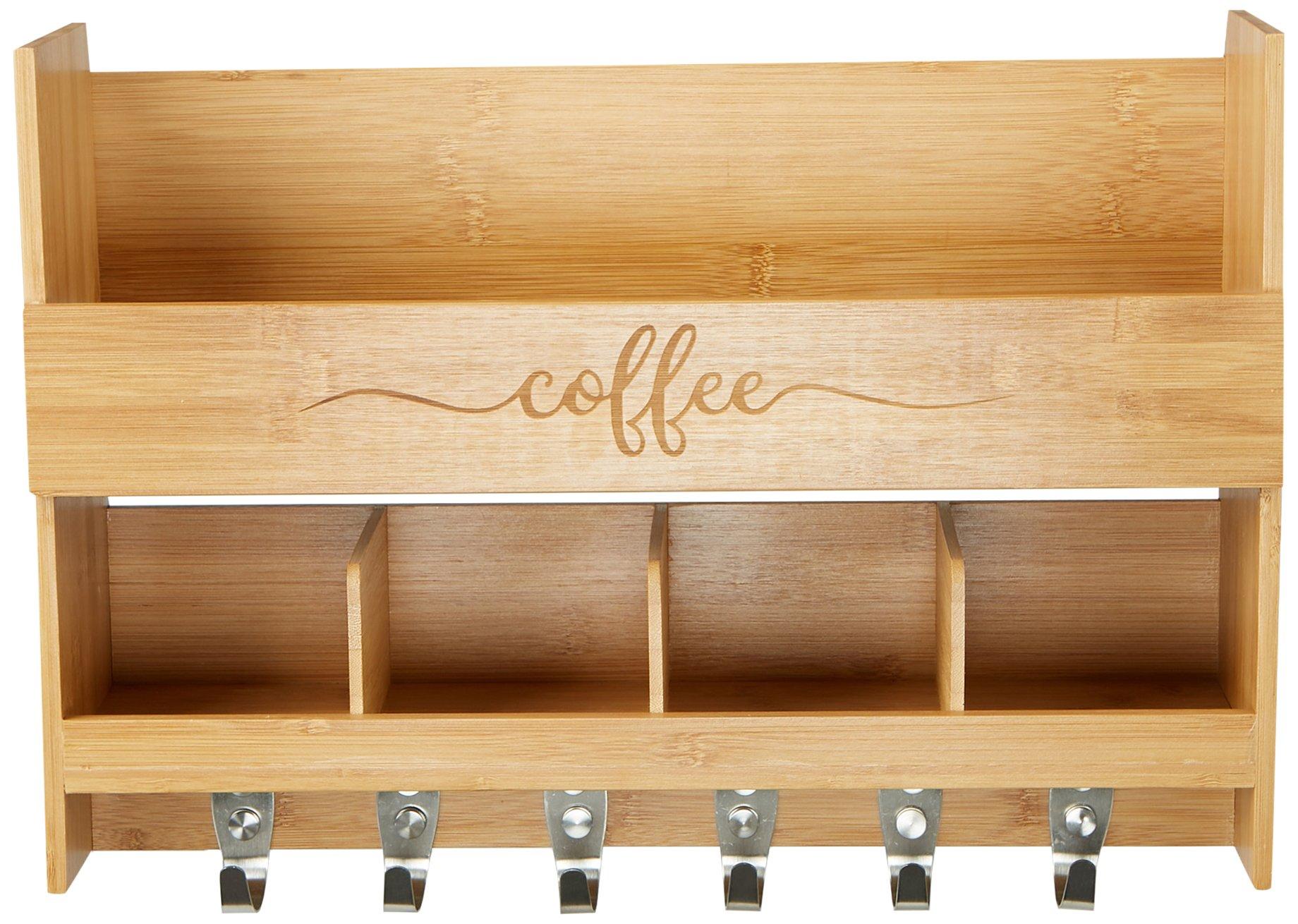 Mind Reader Wall Mount Coffee Mug Rack,Kitchen Storage Organizer with 6 Hooks and 2 Shelves, Brown