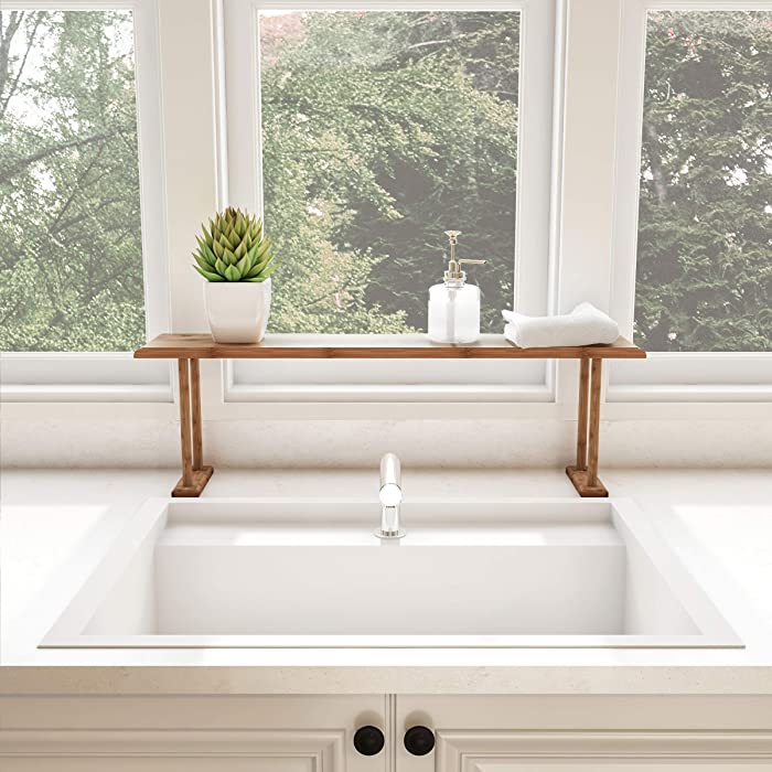 Lavish Home Bamboo Sink Shelf-Countertop Organizer for Kitchen, Bathroom Bedroom, Office-Space Saving Storage for Soap, Sponges, Cleaners and More