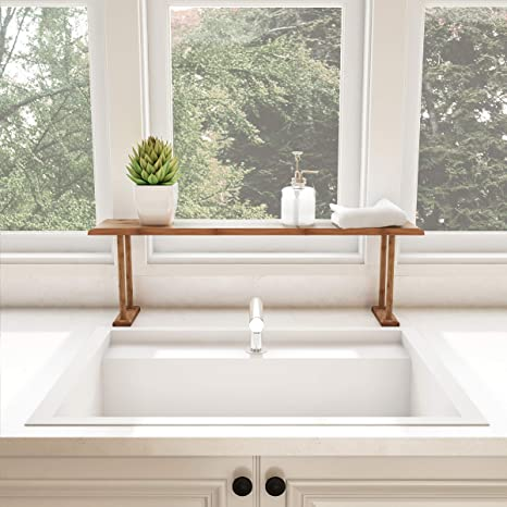 Over The Sink Shelf Bathroom | Lavish Home Bamboo Sink Shelf Countertop Organizer For Kitchen Bathroom Bedroom Office Space Saving Storage For Soap Sponges Cleaners And More