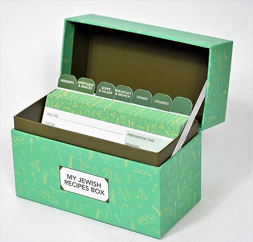 Thejoybox Caja de recetas judías con 46 tarjetas de recetas y separadores, para apreciar las tradiciones judías de cocina y vacaciones judías: Amazon.es: Hogar