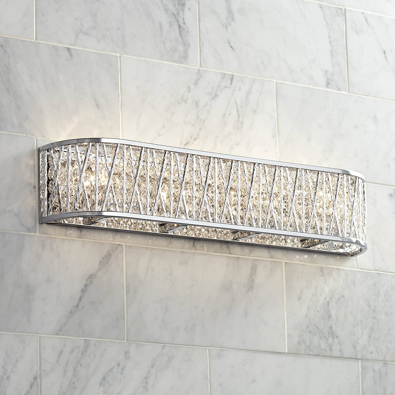 Woven Laser Cut Modern Wall Light Chrome Hardwired 24 Wide Light Bar Fixture Crystal Accents for Bathroom Vanity – Possini Euro Design