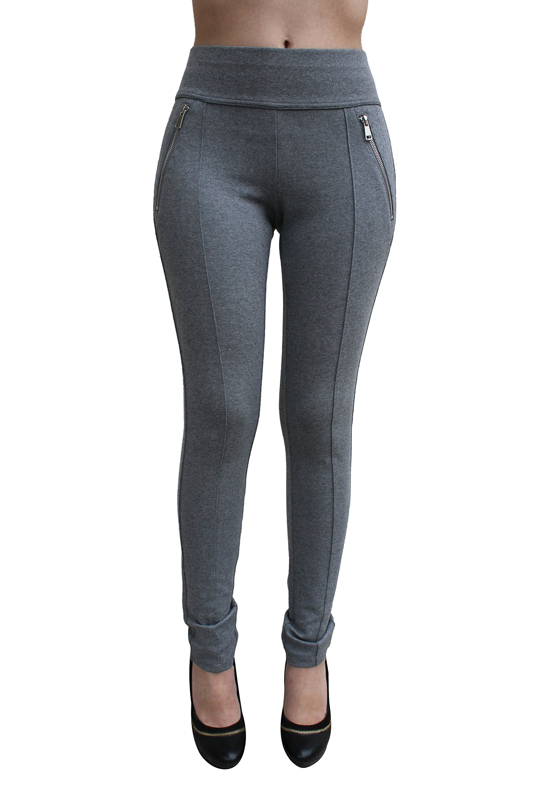 Ci Sono High Waist Legging with Zipper PP51 (Large, Grey)