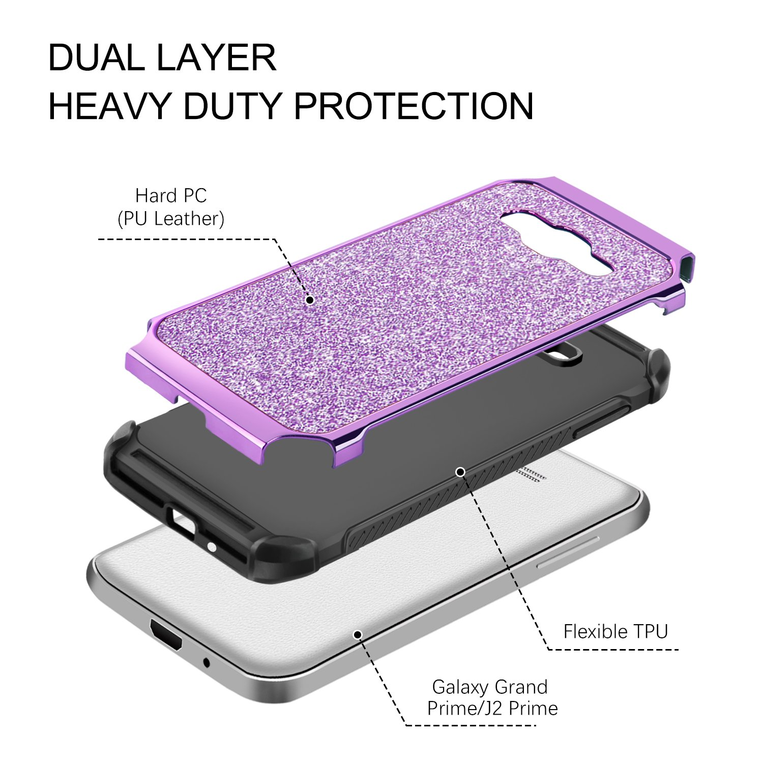 Amazon YINLAI Galaxy J2 Prime Galaxy Case Grand Prime Case Glitter Bling 2 in 1 Slim Hybrid TPU Bumper Hard PC Cover Sparkly Phone Cases patible