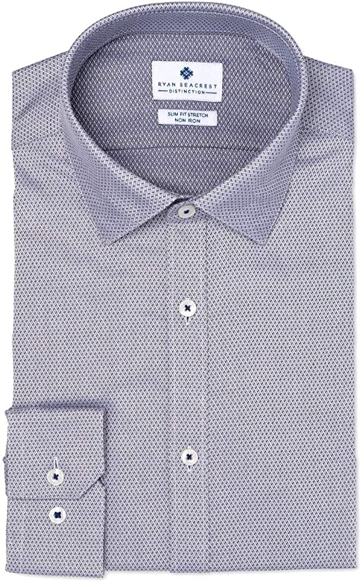 $99 RYAN SEACREST Men SLIM-FIT PURPLE WHITE LONG-SLEEVE DRESS SHIRT 16.5 32//33 L