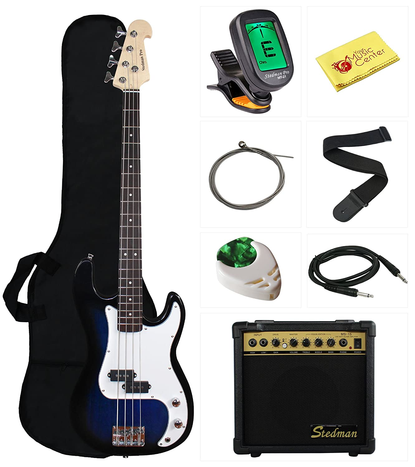 Stedman Beginner Series Bass Guitar Bundle with 15-Watt Amp, Gig Bag, Instrument Cable, Strap, Strings, Picks, and Polishing Cloth - Transparent Blue EB46-TBU-15W