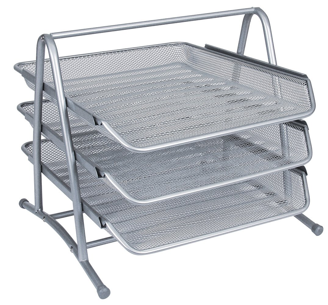 Q-Connect 3-Tier Letter Tray - Silver: Amazon.co.uk: Office Products