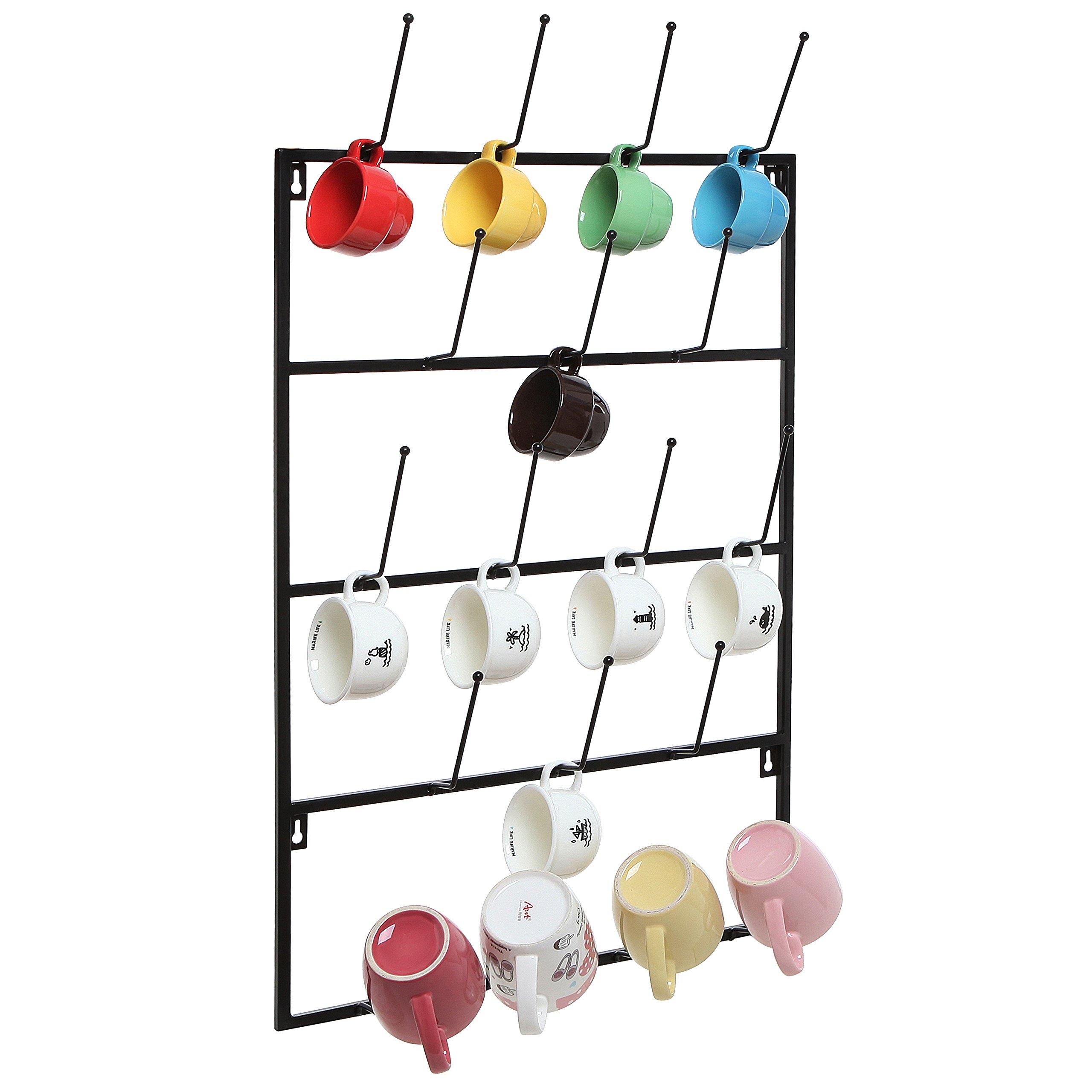 5 Tier Black Metal Wall Mounted Kitchen Mug Hook Display/Cup Storage Organizer Hanger Rack - MyGift by MyGift
