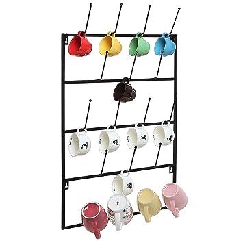 5 Tier Black Metal Wall Mounted Kitchen Mug Hook Display / Cup Storage  Organizer Hanger Rack