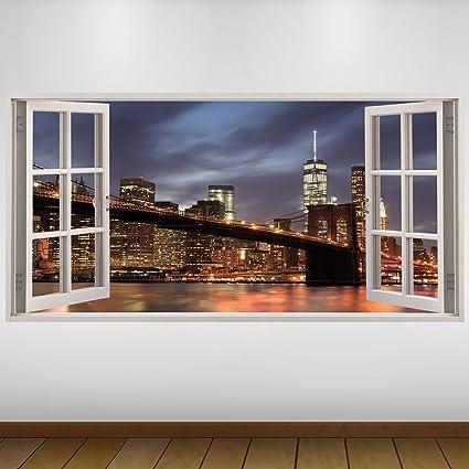 EXTRA GRANDE Puente de Brooklyn Nueva York Ciudad de vinilo 3D Póster - Mural Decoración -