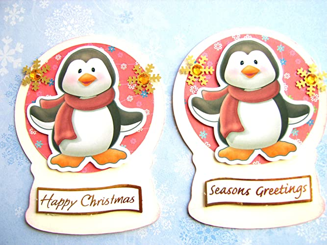 Christmas Toppers For Card Making.2 Christmas Card Toppers Penguin Cuties Diecut Snowglobes