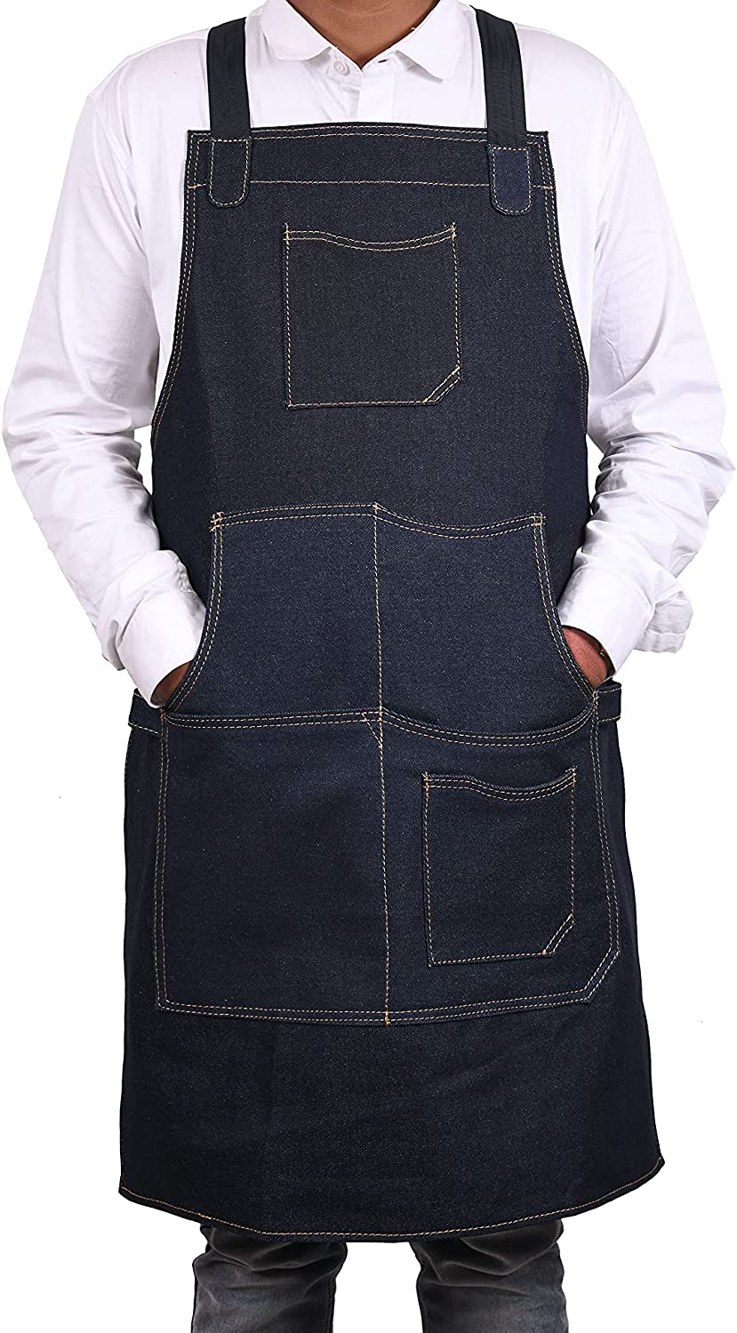 One Size Fits Utility Apron | Adjustable Cross-Back Straps | Multi-Use Shop Apron With Tool Pockets By Aaron Leather Goods