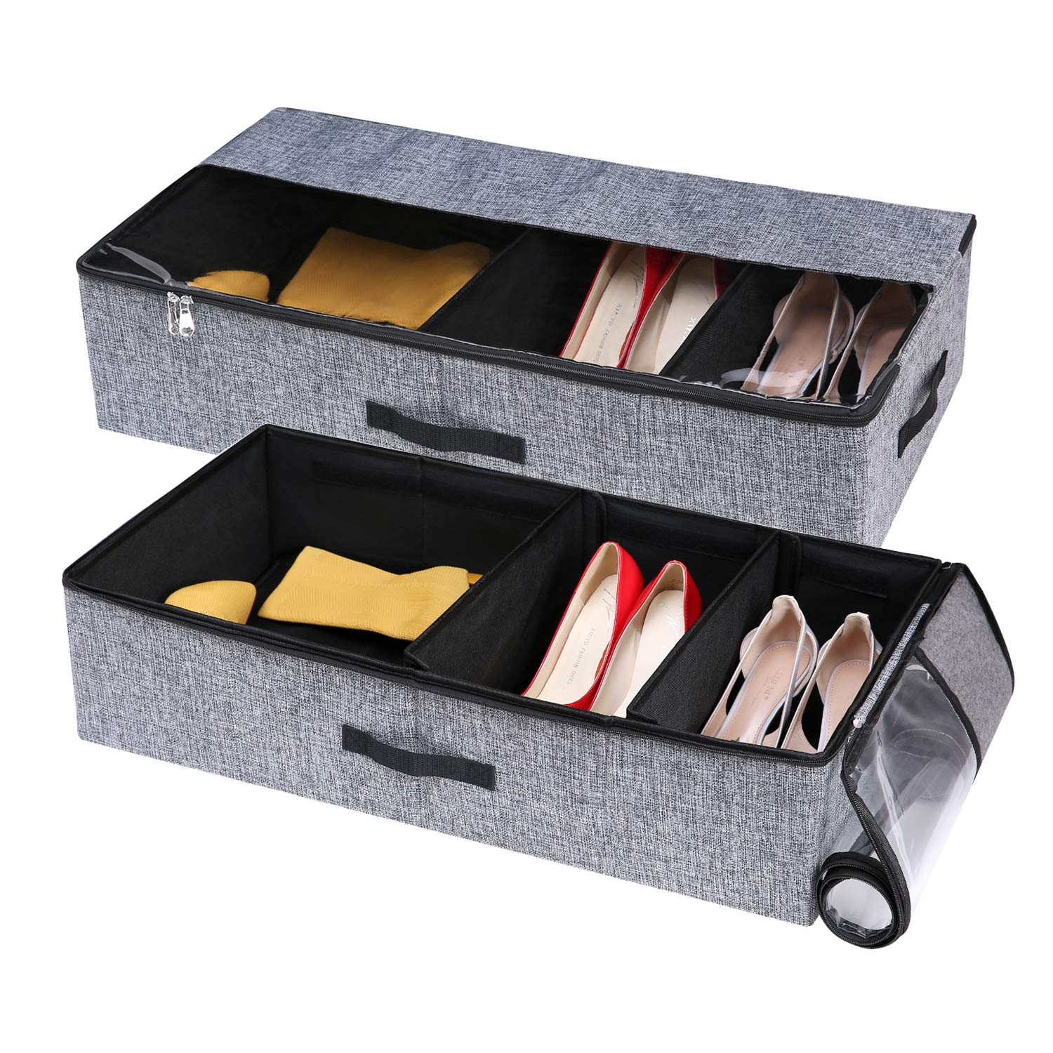 VEAMOR Under Bed Shoe Storage Boxes,Storage Containers Bags for Clothes Sheets Blankets with Adjustable Dividers(Grey 2pcs) by VEAMOR