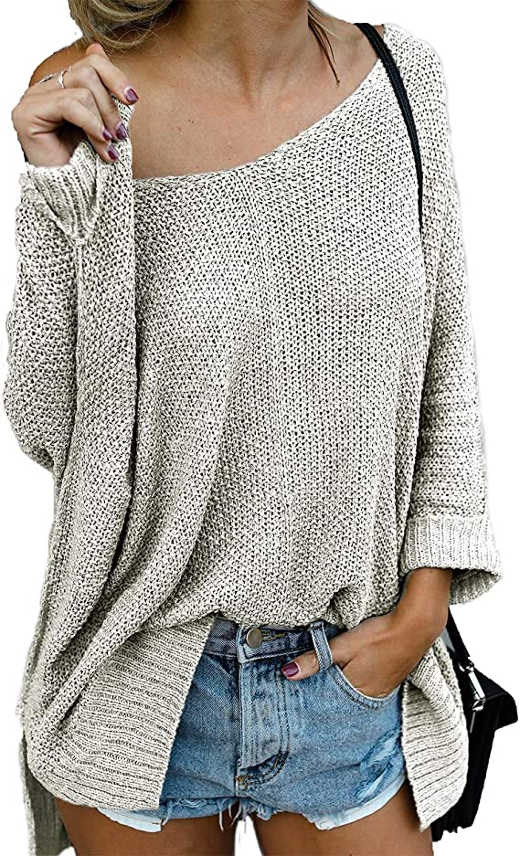 Women Batwing Knit Tan Boho Sweater Lace Hem Relaxed Fit Casual Tunic Top Cute