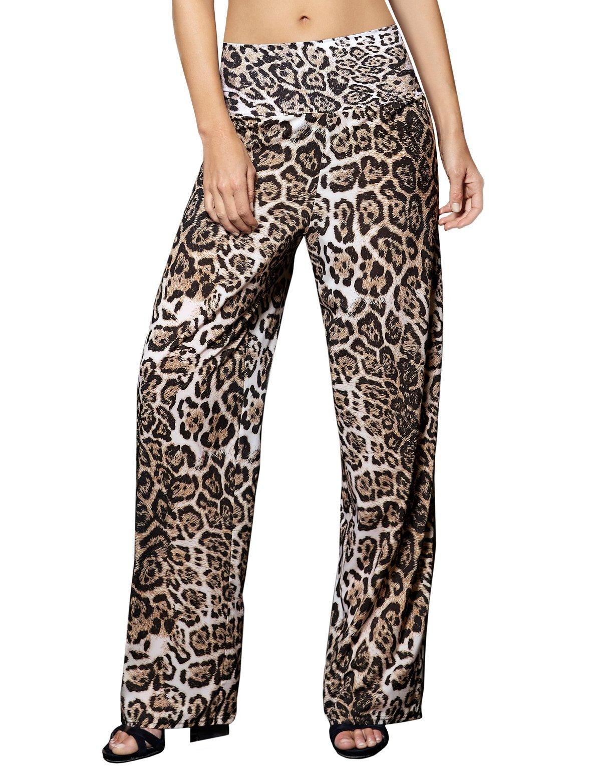 Opera 63501-5 Women's Latin Diamond Black Animal Print Trouser Beach Pant