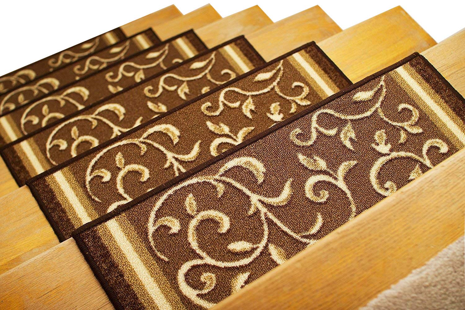 Gloria Rug Stair Treads Non Slip - Outdoor Skid Resistant Stair Set of 7 (8.5'' x 26'') Beautiful Floral Design Stair Mats with Rubber Backing, Brown Floral Design by Gloria Rug
