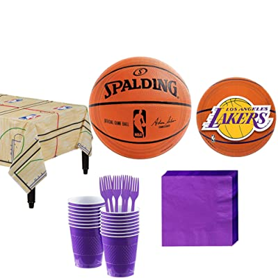 Party City Los Angeles Lakers Party Kit and Supplies for 16 Guests, Includes Table Cover, Plates, Napkins and More: Kitchen & Dining