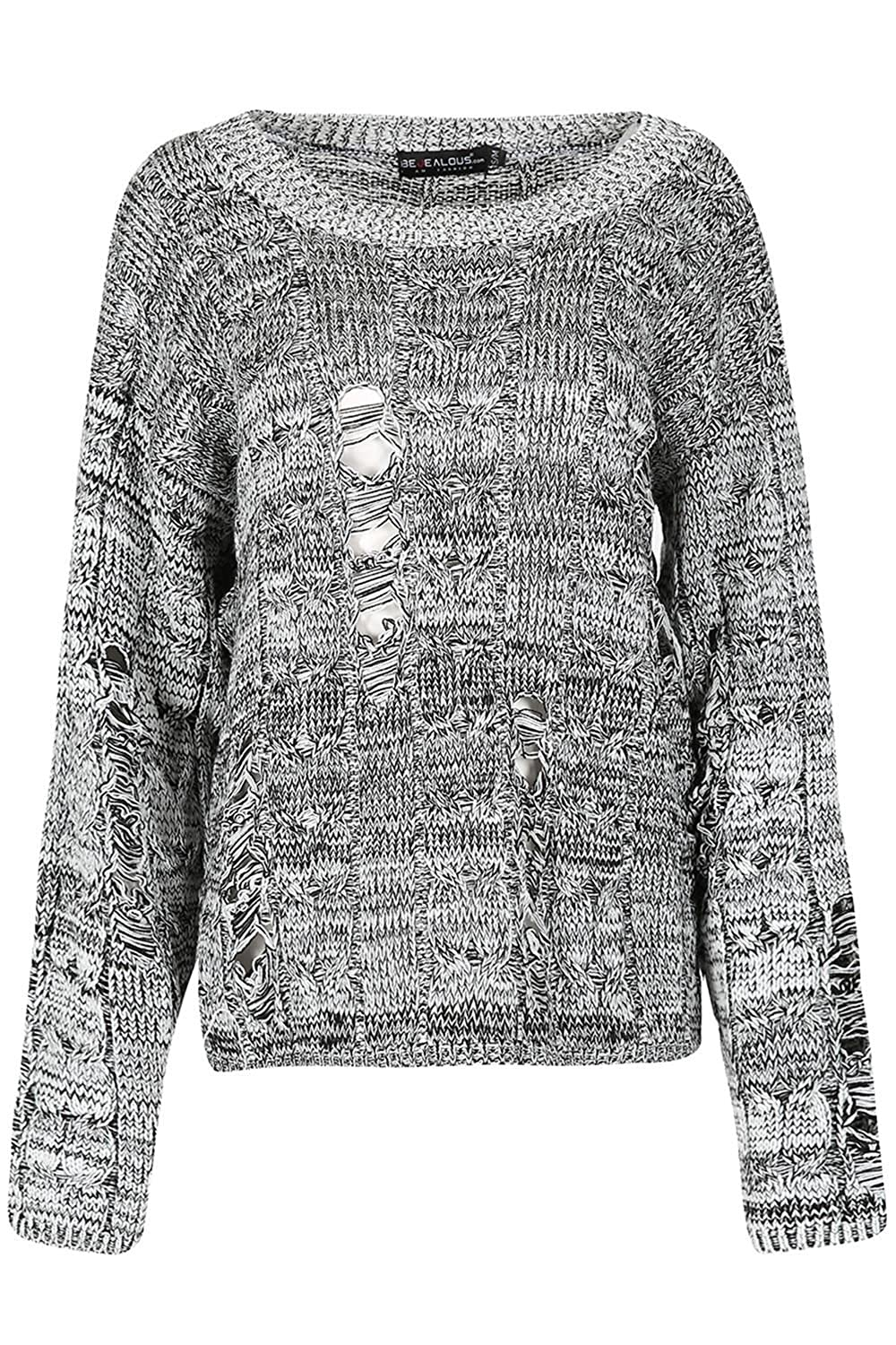 Be Jealous Womens Knit Chunky Cable Distress Oversize Rip Destroyed Baggy Jumper
