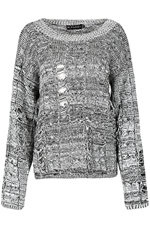 769951c66d00 Be Jealous Womens Ladies Chunky Cable Knit Oversized Destroyed Distress  Ripped Baggy Jumper