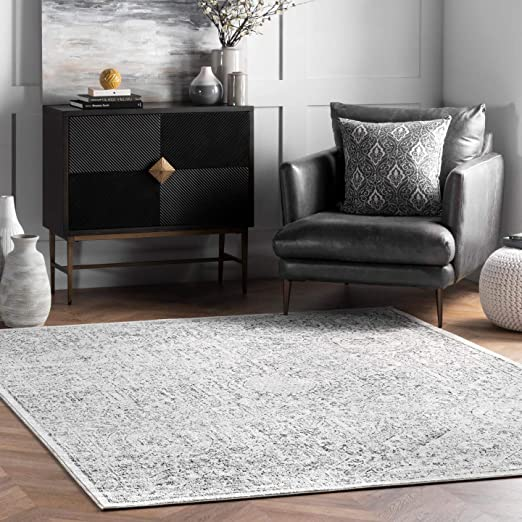 Amazon Com Nuloom Minta Vintage Area Rug 8 10 X 12 Grey Furniture Decor