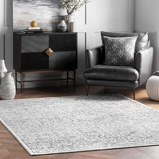 Amazon Com Nuloom Minta Vintage Area Rug 8 10 X 12 Grey Furniture Decor