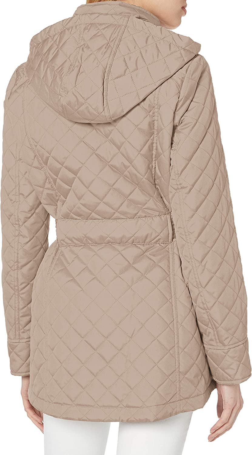 Medium Tommy Hilfiger Womens Belted Diamond Quilted Jacket with Hood Black