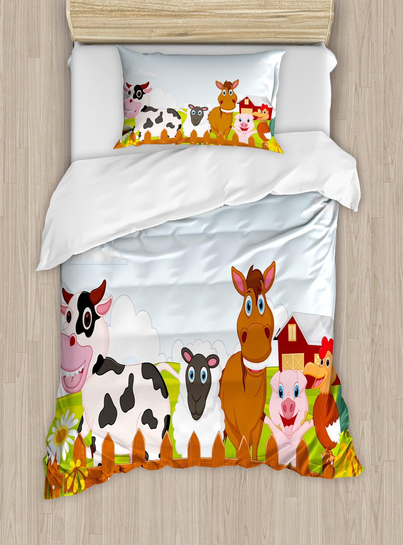 Ambesonne Animal Duvet Cover Set Twin Size, Cute Farm Creatures with Cow Horse Goat Pig and Chicken by the Fences Kids Cartoon, Decorative 2 Piece Bedding Set with 1 Pillow Sham, Multicolor