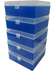 Argos R3126 Translucent Polypropylene 100 Place Microcentrifuge Tube Cryogenic Storage Box with Blue Lid for 0.5, 1.5 and 2.0mL Microcentrifuge Tubes (Pack of 5)