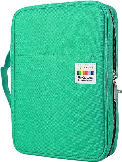 YOUSHARES 166 slots caja de lápices de colores, 110 ranuras gel plumas FO organizador de la caja para colorear, práctico soporte de lápiz de color multicapa (Verde): Amazon.es: Oficina y papelería