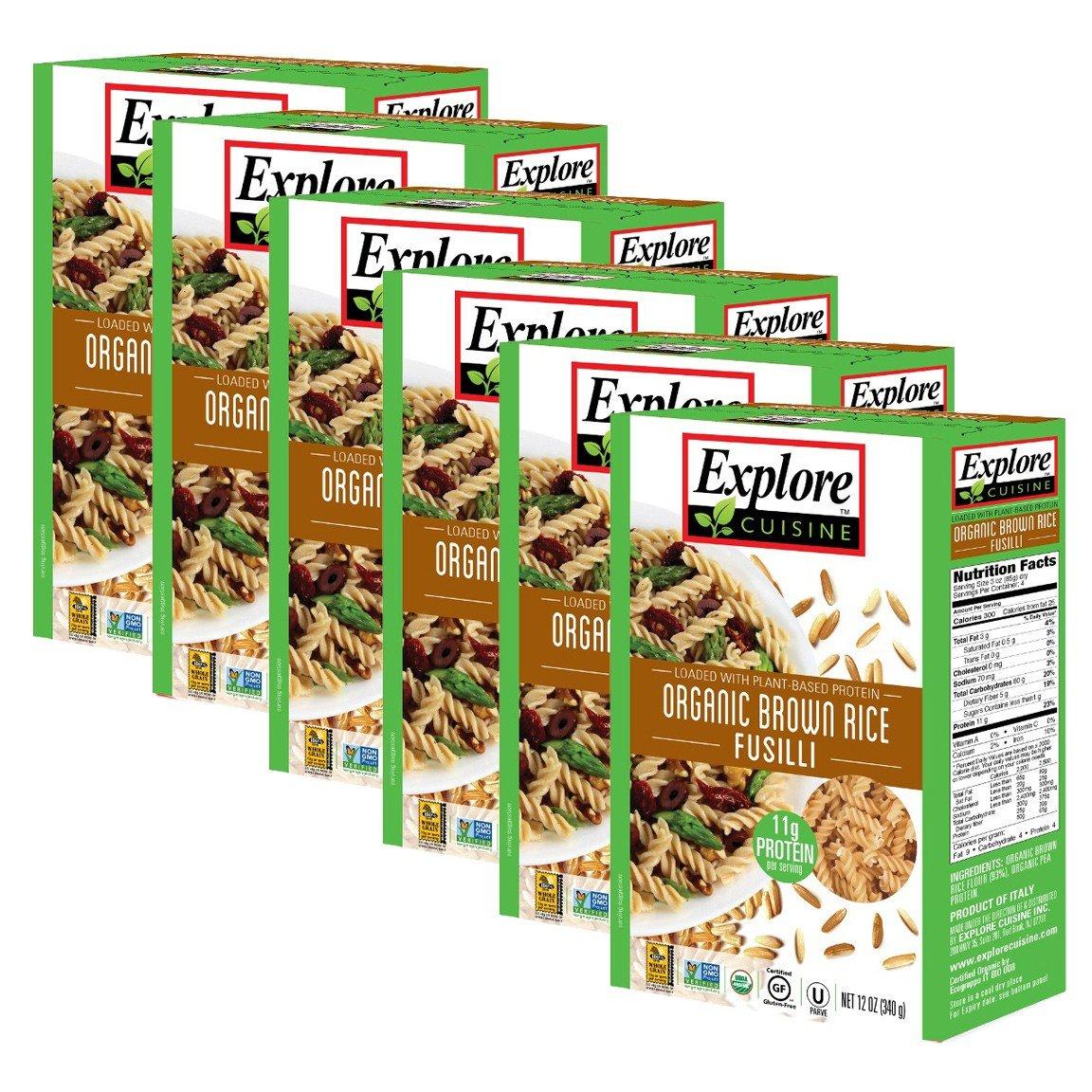 Explore Cuisine Organic Brown Rice Fusilli, Organic, Gluten Free, non-GMO Verified, 12 oz (Pack of 6) by EXPLORE CUISINE